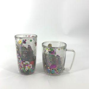 2 Vintage Tervis glitter confetti tumblers cups